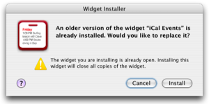 Widget Installer in Mac OS X 10.4.2